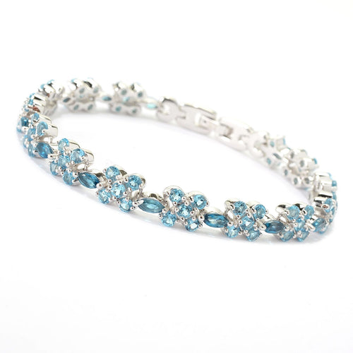 Pinctore Sterling Silver 13.12ctw London Swiss Blue Topaz Flower Bangle Bracelet ' - pinctore