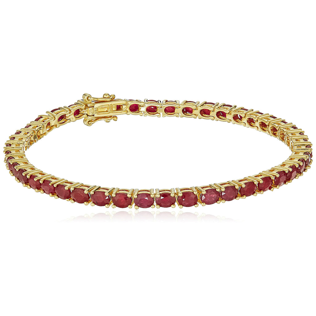Pinctore Yellow Gold-Plated Silver Genuine Ruby Tennis Bracelet - pinctore