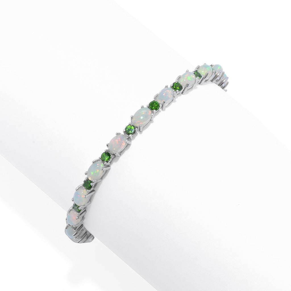 Pinctore Sterling Silver  Ethiopian Opal & Chrome Diopside Line Bracelet - pinctore