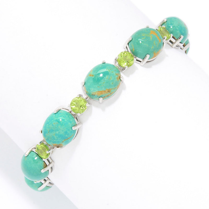 Pinctore Sterling Silver  Oval & Round Tyrone Turquoise Line Bracelet - pinctore