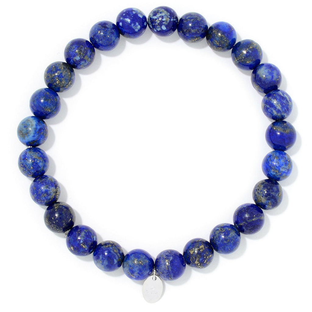 Pinctore Sterling Silver Lapis-Lazuli Beaded Stretch Bracelet