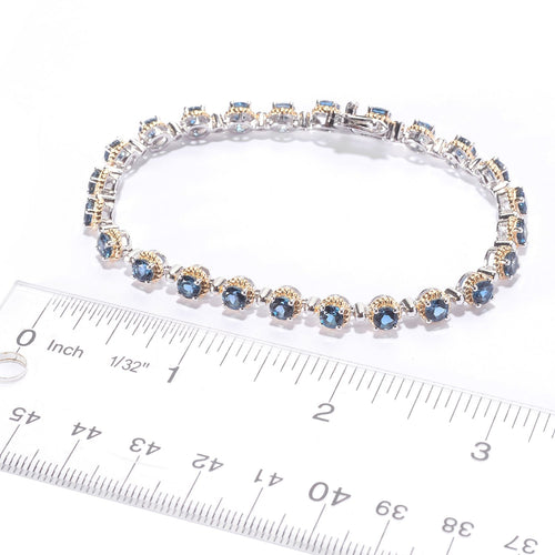 Pinctore Two-Tone Sterling Silver  Round London Blue Topaz Line Bracelet