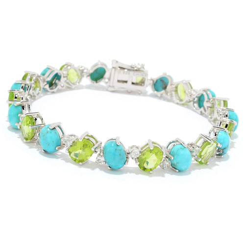 Pinctore Sterling Silver Campitos Mexican Turquoise & Peridot Line Bracelet - pinctore