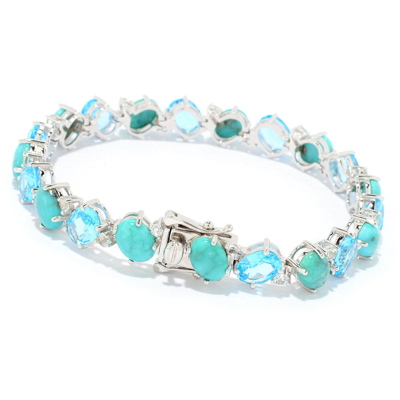 Pinctore Sterling Silver Campitos Mexican Turquoise & Swiss Blue Topaz Line Bracelet