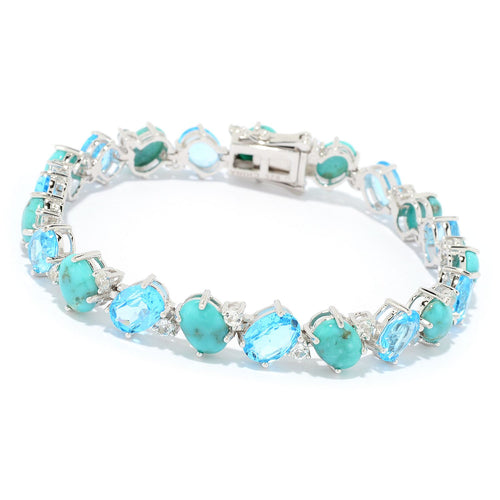 Pinctore Sterling Silver Campitos Mexican Turquoise & Swiss Blue Topaz Line Bracelet - pinctore