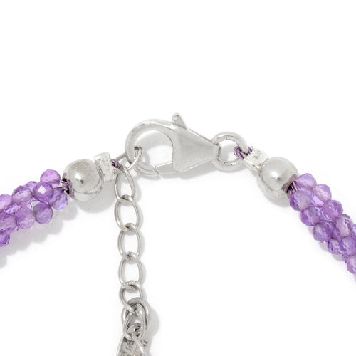 Pinctore Sterling Silver Amethyst Twisted Beaded Bracelet