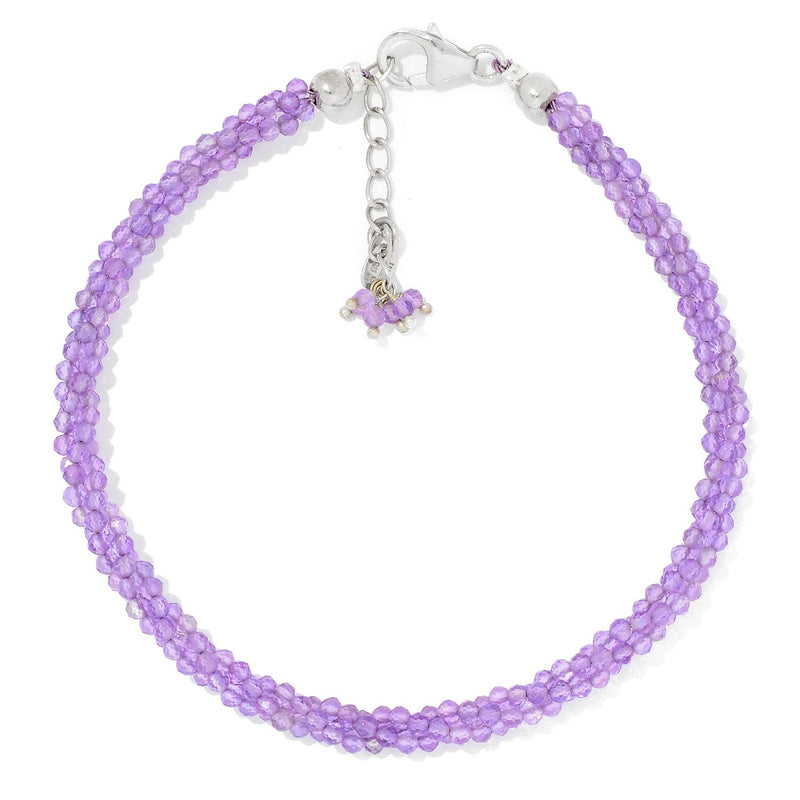 Pinctore Sterling Silver  Amethyst Twisted Beaded Bracelet - pinctore