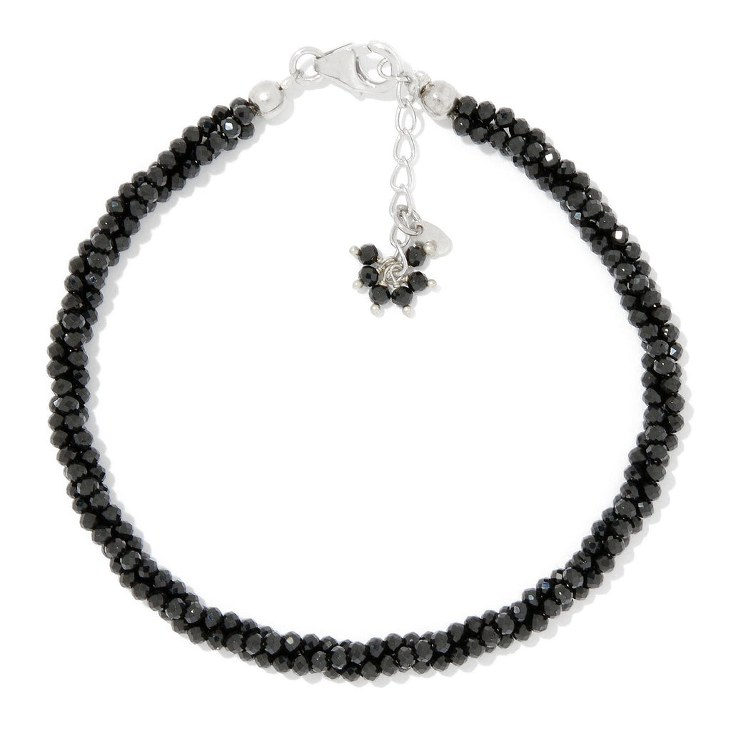Pinctore Sterling Silver  Black Spinel Twisted Beaded Bracelet