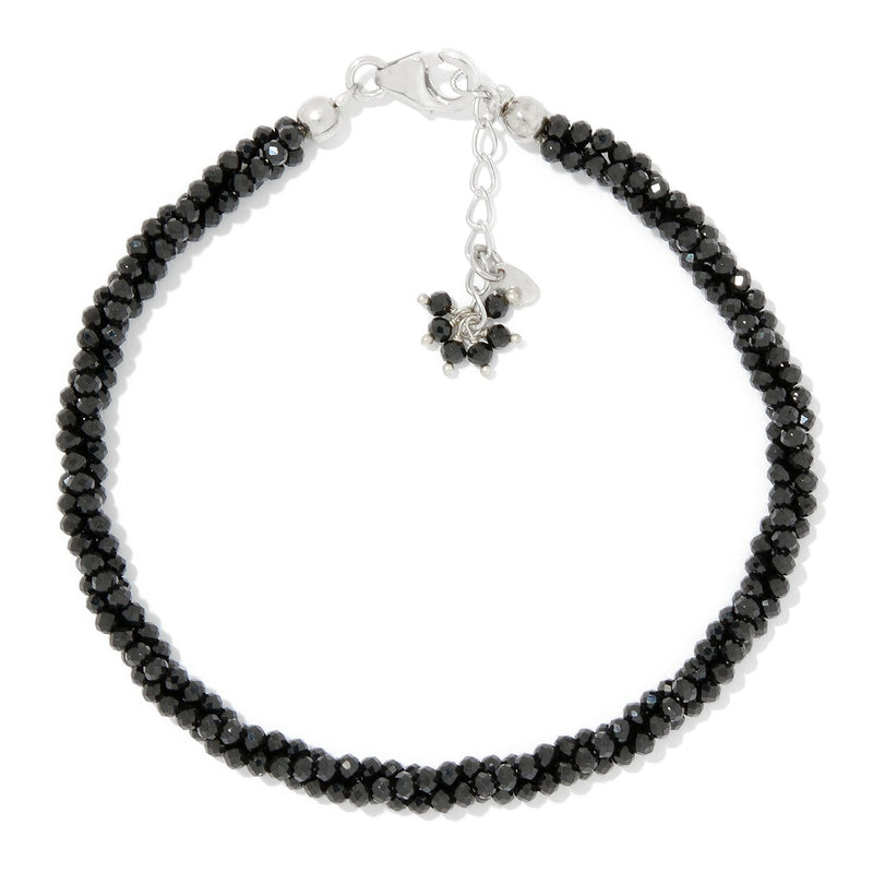 Pinctore Sterling Silver  Black Spinel Twisted Beaded Bracelet - pinctore