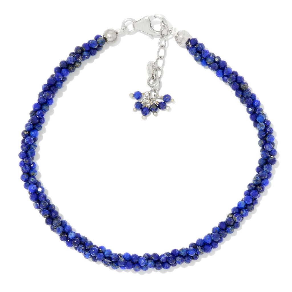 Pinctore Sterling Silver  Lapis-Lazuli Twisted Beaded Bracelet