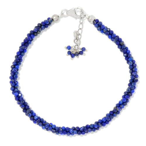 Pinctore Sterling Silver  Lapis-Lazuli Twisted Beaded Bracelet - pinctore