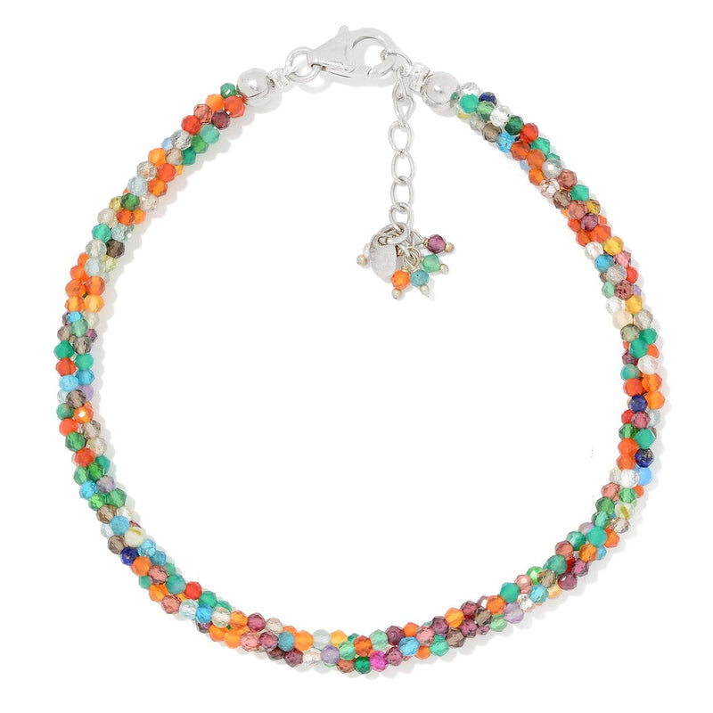 Pinctore Sterling Silver  Multi Gemstone Twisted Beaded Bracelet - pinctore