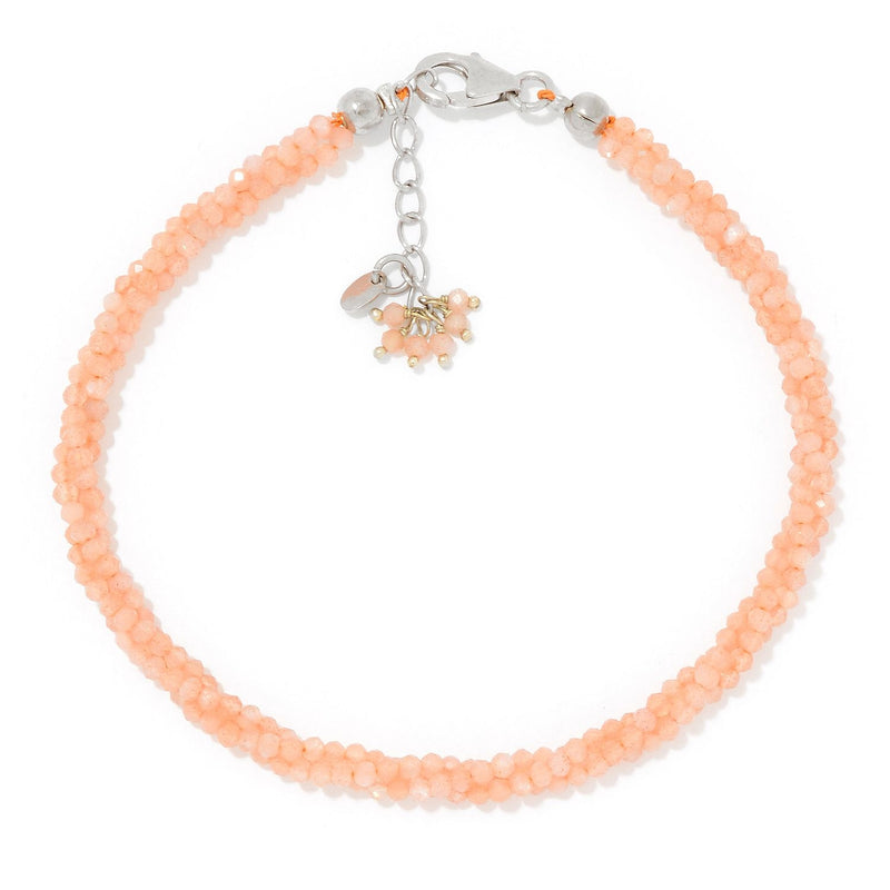 Pinctore Sterling Silver  Peach Moonstone Twisted Beaded Bracelet - pinctore