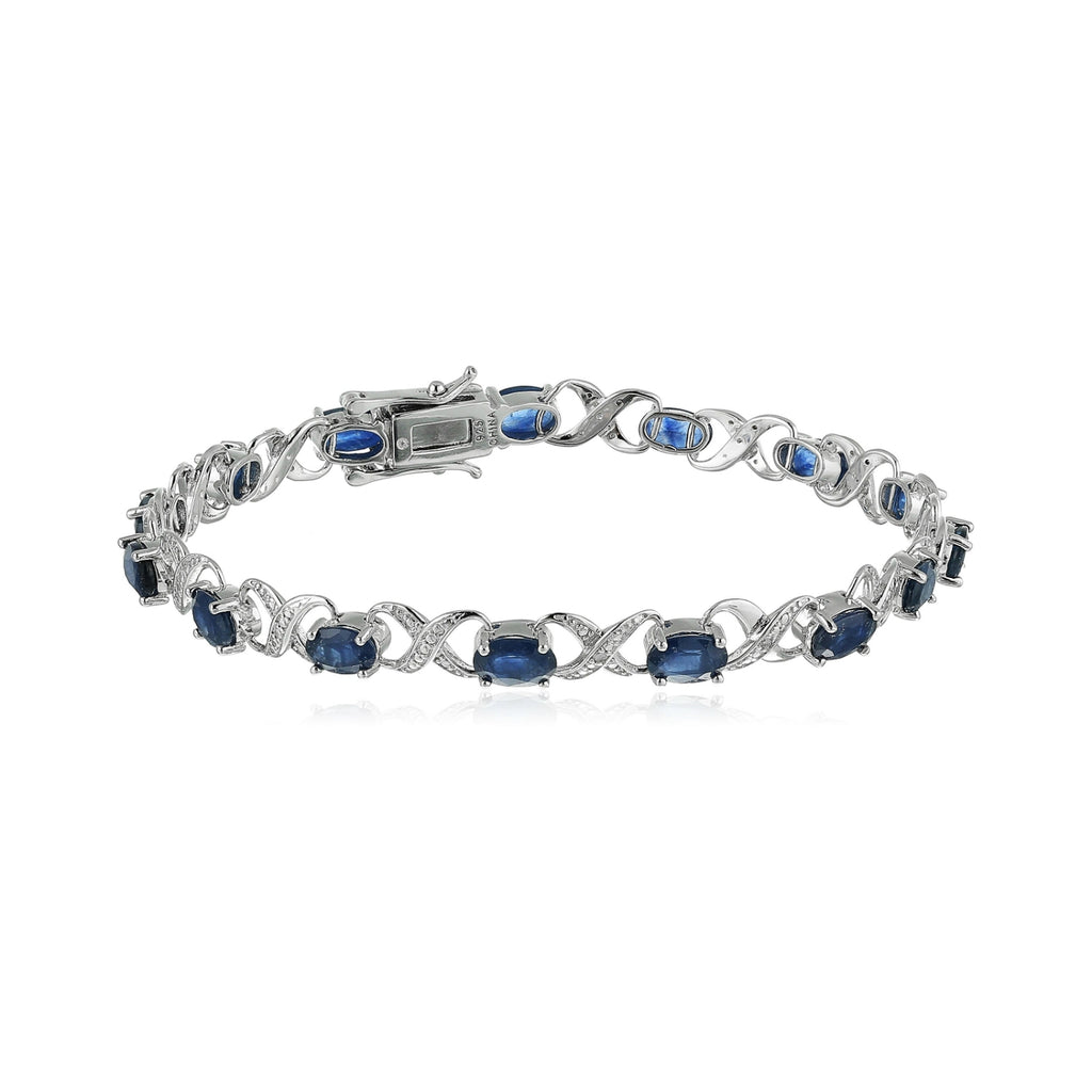 Sterling Silver 8 cttw Blue Sapphire and Diamond Accented XO XO Tennis Bracelet