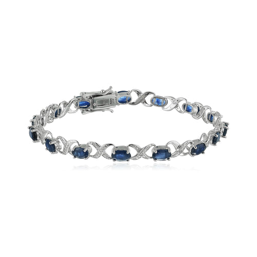 Sterling Silver 8 cttw Blue Sapphire and Diamond Accented XO XO Tennis Bracelet - pinctore