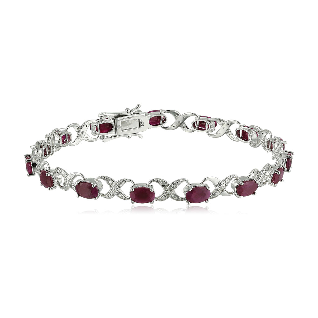 Pinctore Ster Silver 8 cttw Ruby and Diamond Accented Tennis Bracelet - pinctore