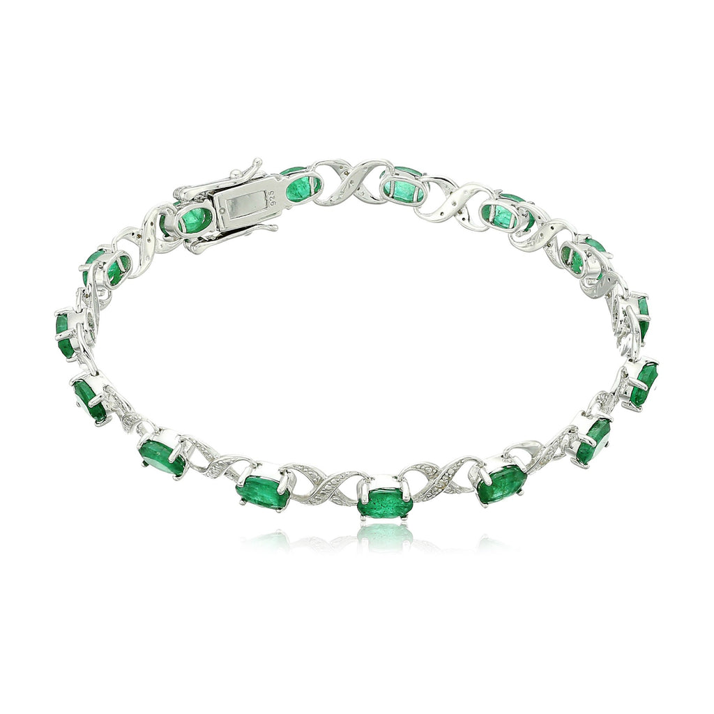 Pinctore Ster Silver 7 cttw Emerald and Diamond Accented Tennis Bracelet