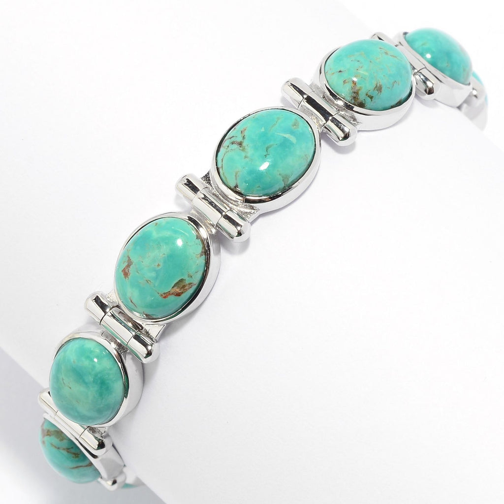 Pinctore Sterling Silver Choice of Length Tyrone Turquoise Line Bracelet