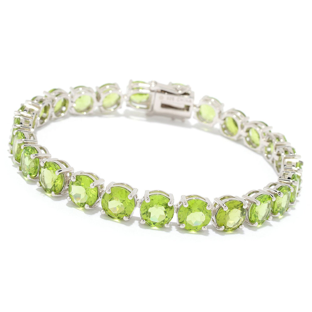 Pinctore Sterling Silver Choice of Length Round Peridot Line Bracelet