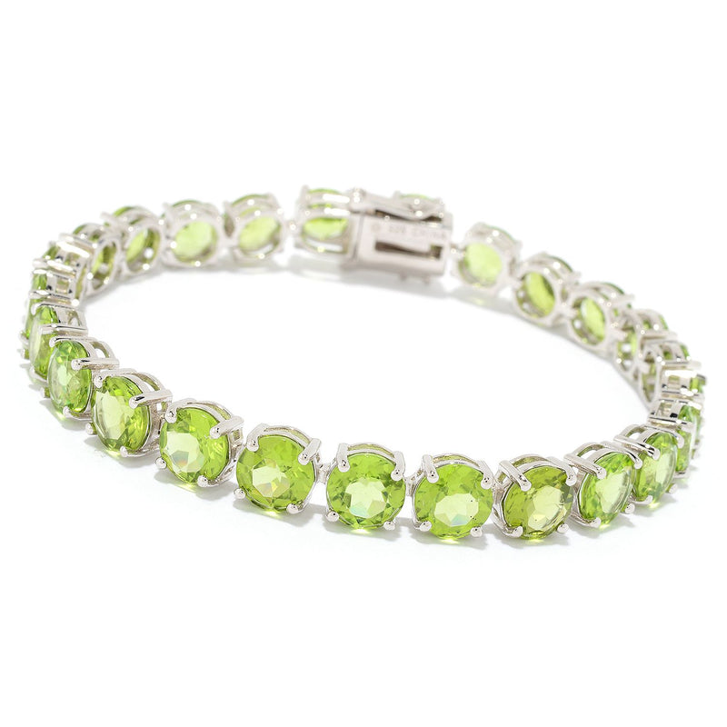 Pinctore Sterling Silver Choice of Length Round Peridot Line Bracelet - pinctore