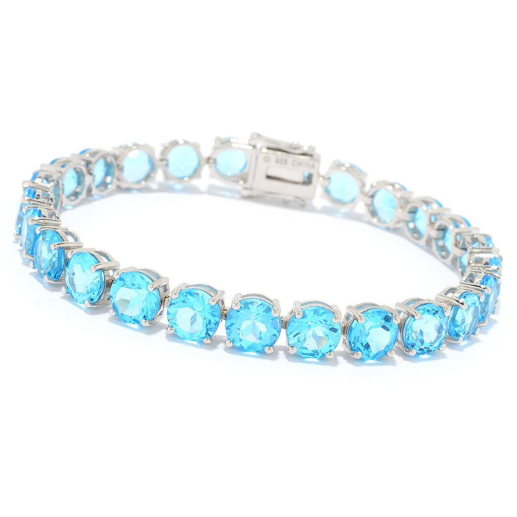 Pinctore Sterling Silver Choice of Length Round Swiss Blue Topaz Line Bracelet