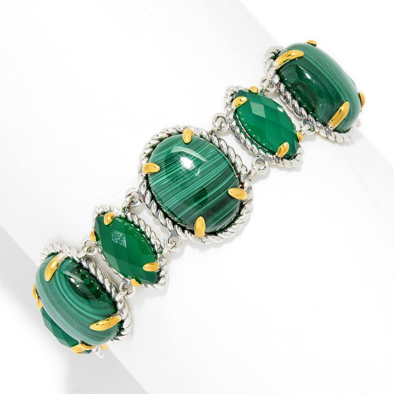 Pinctore Sterling Silver Malachite & Green Agate Adjustable Toggle Bracelet, 7.25""