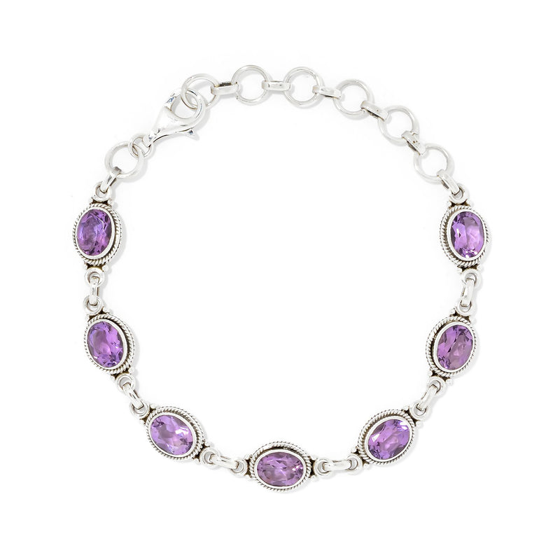 Pinctore Sterling Silver Oval Cut Amethyst Adjustable Line Bracelet