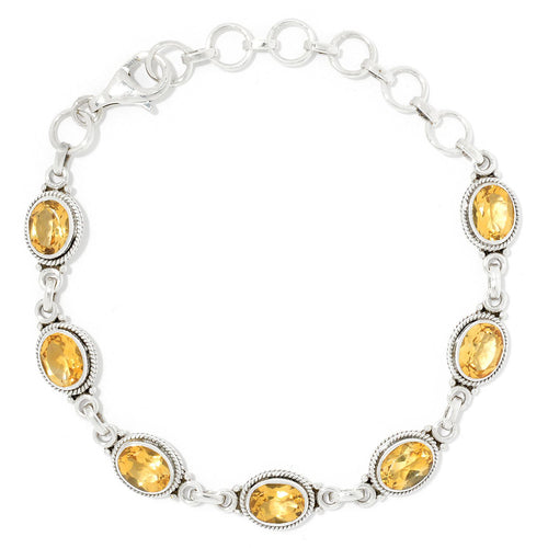 Pinctore Sterling Silver Oval Cut Citrine Adjustable Line Bracelet - pinctore