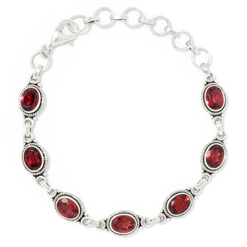 Pinctore Sterling Silver Oval Cut Red Garnet Adjustable Line Bracelet