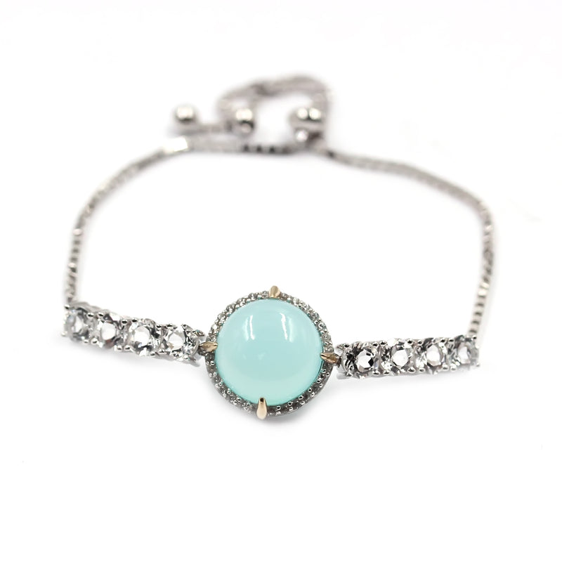 Pinctore 14K Gold & Sterling Silver with Aqua Chalcedony Adjustable Bracelet