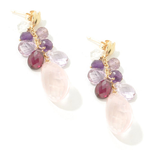 Pinctore 14KT Yellow Gold 21ctw Rose Quartz Multi Gemstone Drop Earring 1.25'L - pinctore