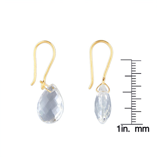 Pinctore Yellow Gold over Silver 10.45ctw Crystal Teardrop Earring 1.25'L