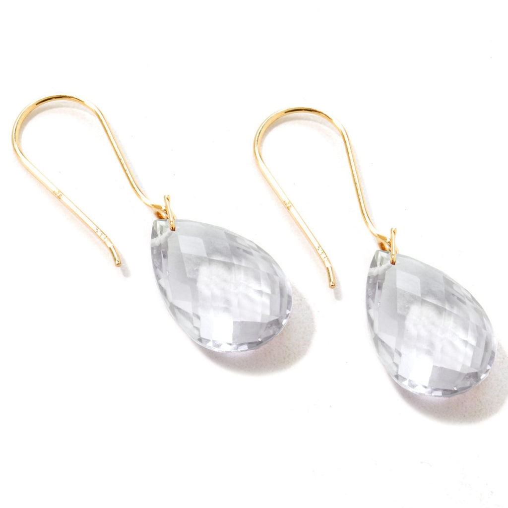 Pinctore Yellow Gold over Silver 10.45ctw Crystal Drop & Dangle Earring 1.25'L - pinctore