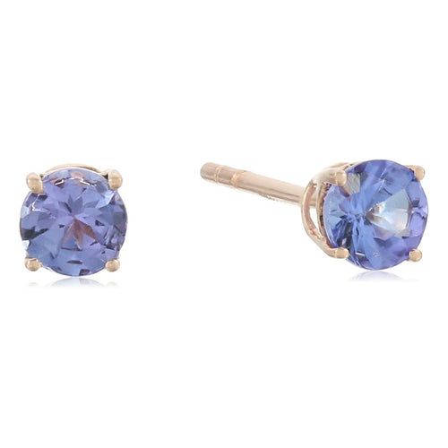 10k Rose Gold Tanzanite Stud Earrings - pinctore