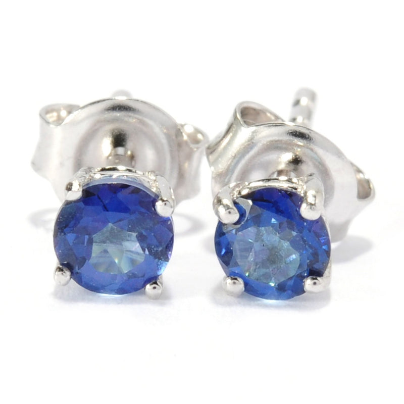 Pinctore Sterling Silver 0.65ctw Blue Topaz Solitaire Studs Earrings