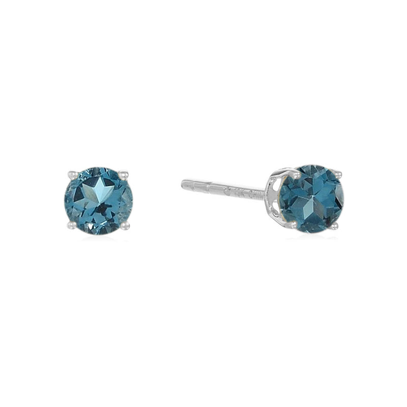 Sterling Silver Round Gemstone Birthstone Stud Earrings-London Blue Topaz