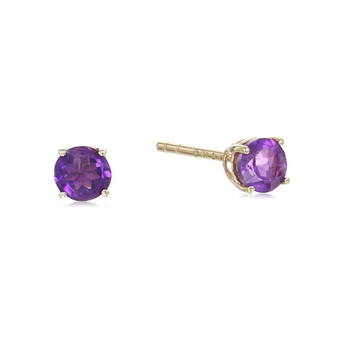 10k Yellow Gold African Amethyst Stud Earrings - pinctore