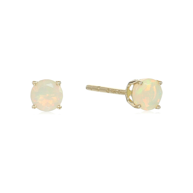 10k Yellow Gold Ethiopian Opal Stud Earrings - pinctore