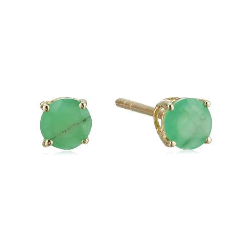 10k Yellow Gold Natural Emerald Stud Earrings - pinctore