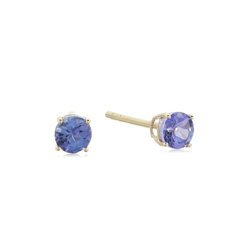 10k Yellow Gold Tanzanite Stud Earrings - pinctore