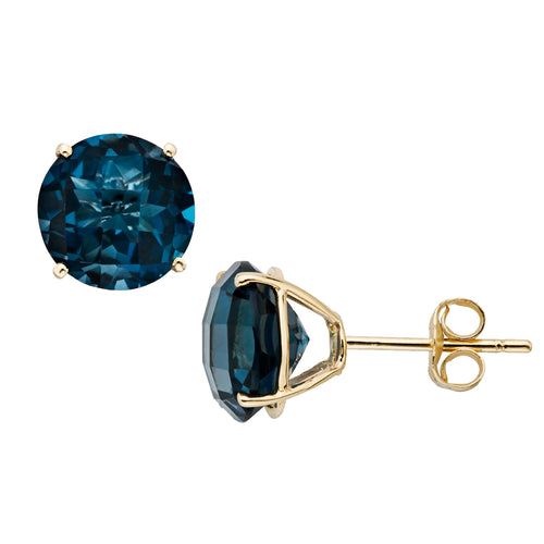 10k Yellow Gold London Blue Topaz Round Martini Stud Earrings - pinctore