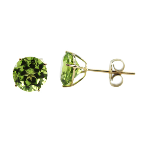 10k Yellow Gold Peridot Round Martini Stud Earrings - pinctore