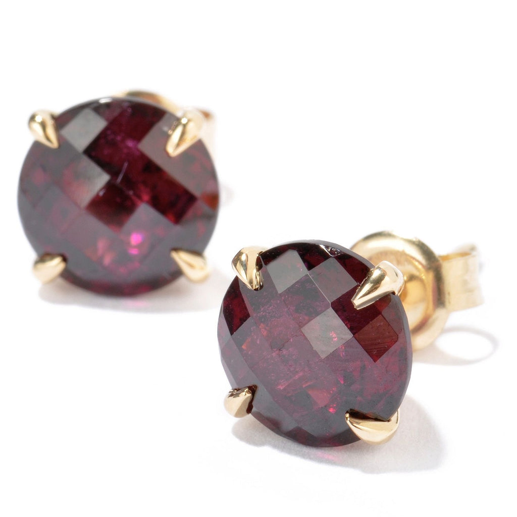 10k Yellow Gold Red Garnet Round Martini Stud Earrings - pinctore