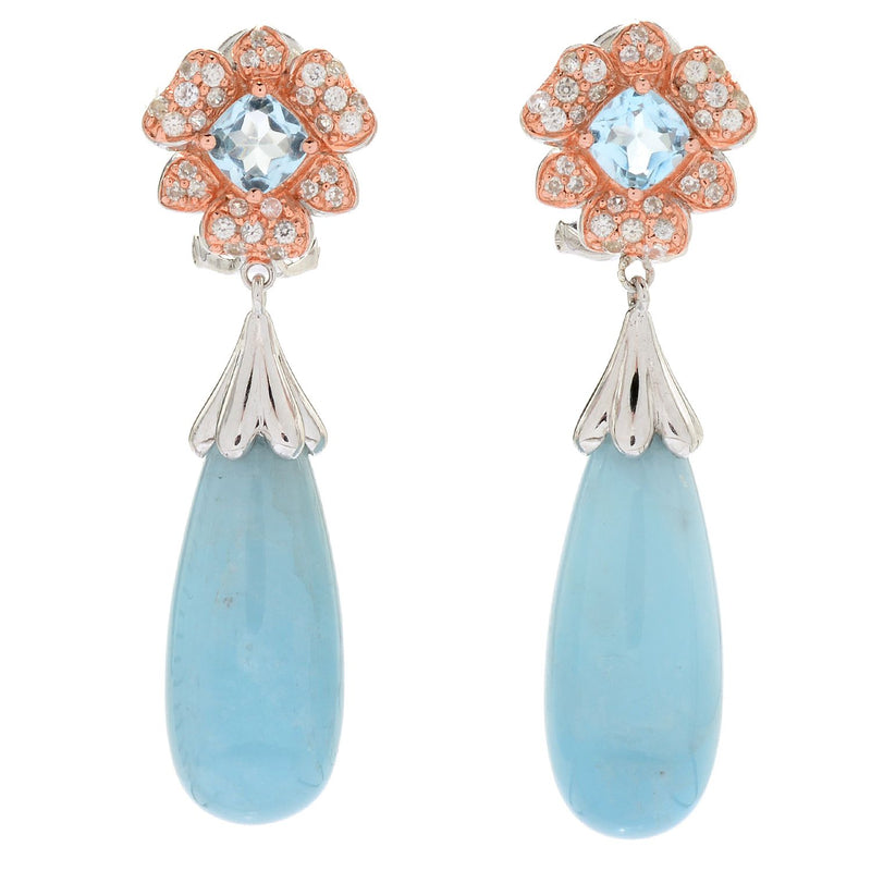 "Pinctore Sterling Silver 1.75"" Aquamarine & Gemstone Drop Earrings"