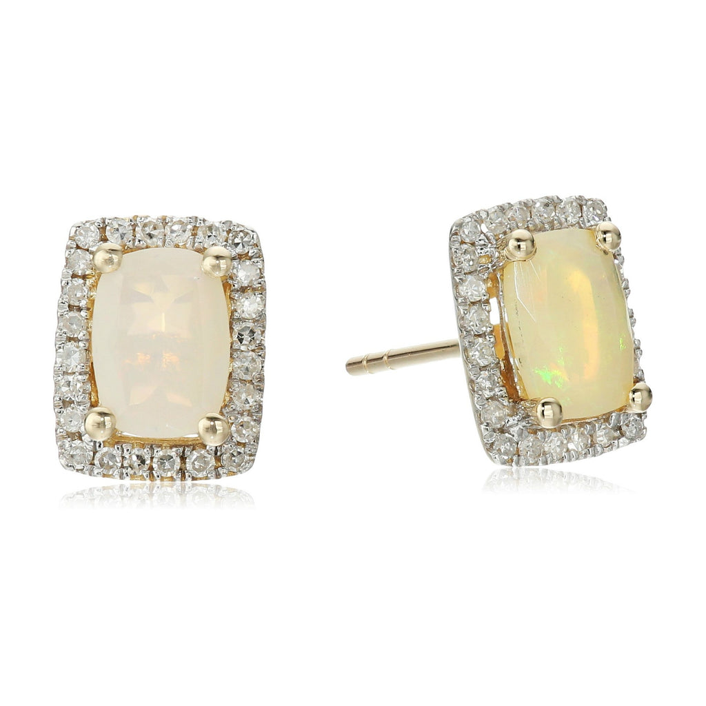 10k Yellow Gold Ethiopian Opal and Diamond Princess Diana Cushion Halo Stud Earrings (1/5cttw, H-I Color, I1-I2 Clarity) - pinctore