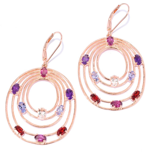Pinctore Rose Gold o/Silver 4.3ctw Rhodolite Garnet Multi Gemstones Dangle Earrings 2'L - pinctore