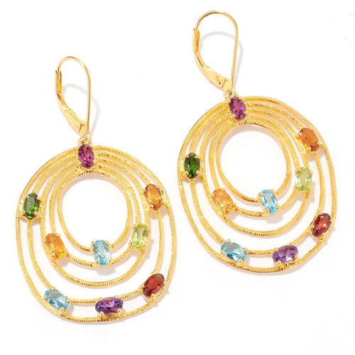 Pinctore Yellow Gold over Silver 4.47ctw Rhodolite Garnet Drop & Dangle Earring 2.00'L - pinctore