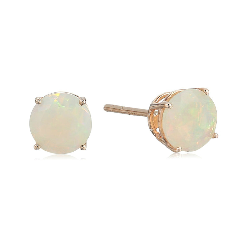10k Rose Gold Ethiopian Opal Round Stud Earrings - pinctore