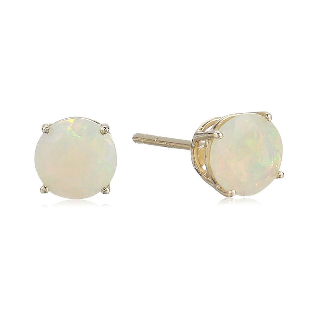 10k White Gold Ethiopian Opal Round Stud Earrings - pinctore