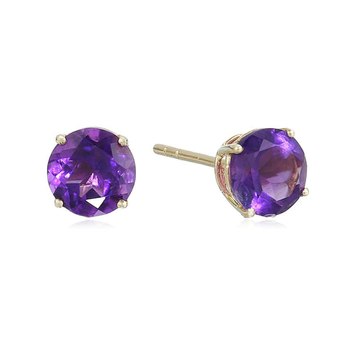 10k Yellow Gold African Amethyst Round Stud Earrings - pinctore